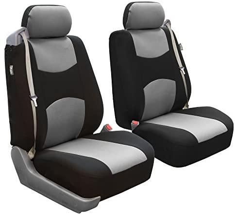 FH Group FB351GRAY102 Gray Flat Cloth Built-in Seatbelt Compatible Low Back Seat Cover Set of 2