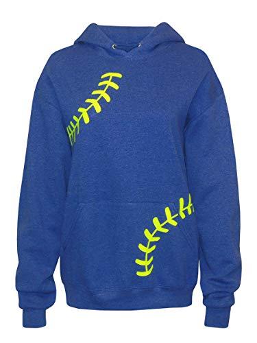 Zone Apparel Women's Softball Hoodie Sweatshirt - Laces Large Blue Heather