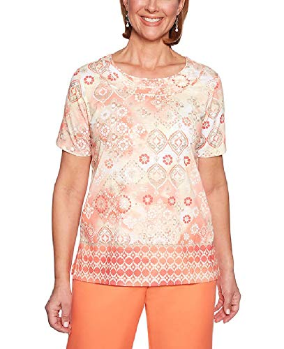 Alfred Dunner Womens Martinique Medallion Border Top