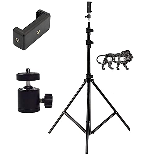 GIRIK Heavy Duty 9 Feet Extendable Metal Tripod Stand with Universal 1/4″ Thread,360 Ball Mobile Holder for Mobile Phone/Video Recording/Led Ringlight/Monolite/Pan Head/Trilight,Reflector and Camera