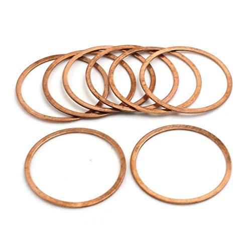 X AUTOHAUX 8 Pcs 40mm Inner Dia Copper Washers Flat Sealing Gasket Rings for Car by X AUTOHAUX (Image #1)