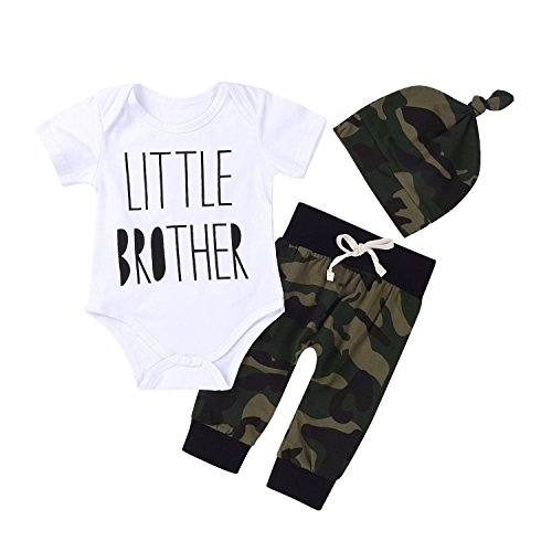 Baby Boys' Clothes Camouflage Rompers Tops + Pants Leggings + Hat Outfits Set (0-3 Months)