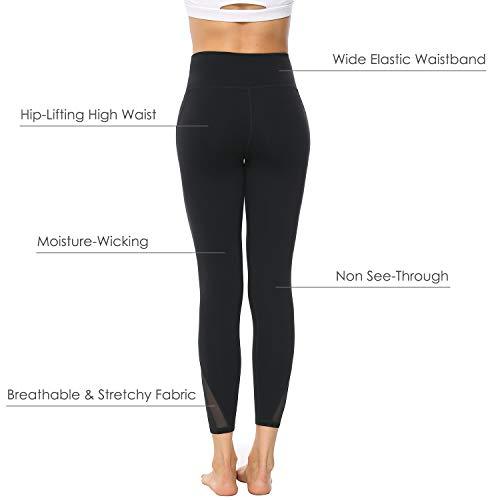 Edeey Yoga Pants for Women High Waisted Leggings with Pockets Spandex Athletic Running Activewear Leggings Mesh Tummy Control Sports Legging Black M