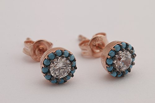Tiny and Elegant Turkish Handmade Jewelry Turquoise Topaz Style Tiny Round 925 Sterling Silver Rose Gold Stud Earrings (Rose Gold Turquoise Earrings)