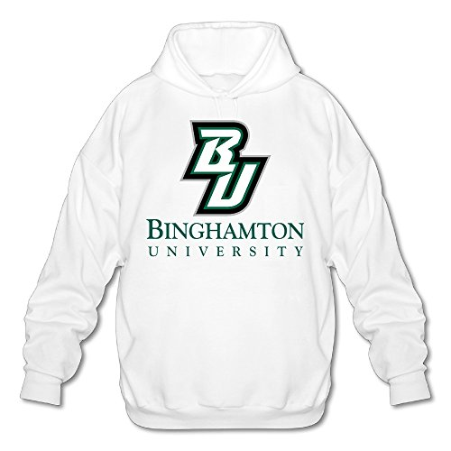 SAMMOI Binghamton University2 Men's Soft Long Sleeve Hoodie M White