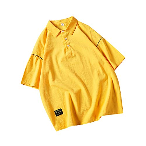 JJLIKER Mens Short Sleeve Polo Shirt Pullover Turn-Down Collar Solid Tees Summer Casual Loose Cotton Tops Yellow
