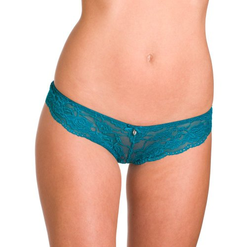 Camille Womens Ladies Underwear Green Lace Bow French Thong Briefs Knickers 8-18 12/14 GREEN