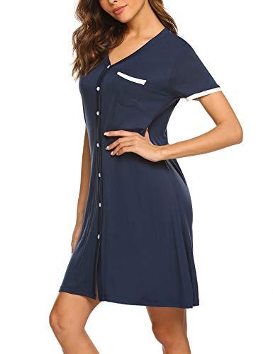 Ekouaer Nightgown Women's Long Sleeve Nightshirt Boyfriend Sleep Shirt Button-up Lapel Collar Sleepwear, Navy Blue XXL