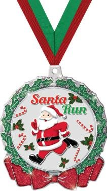 CHRISTMAS MEDALS - 2.75'' Glitter Wreath Santa Run Medal 50 Pack by Crown Awards