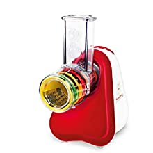 Moulinex Fresh Express Plus DJ756G15- Rallador eléctrico, 150 W, acero inoxidable, rojo y blanco