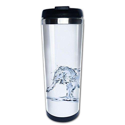 Kooiico An Elephant Made Of Water Spraying Water Coffee Mug Thermal Cups With Easy Clean Lid 14-Ounce Mug
