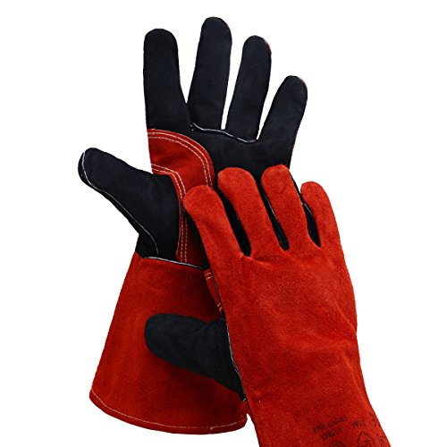 Leather Welding Gloves BOWOO Stitching Heat Resistant Glove for Tig/Mig/Stick/Gardening 14IN,1 pair (Red-Black) by BOWOO