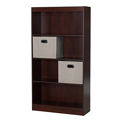 South Shore Axess 4-Shelf Bookcase with 2 Fabric Storage Baskets, Royal Cherry