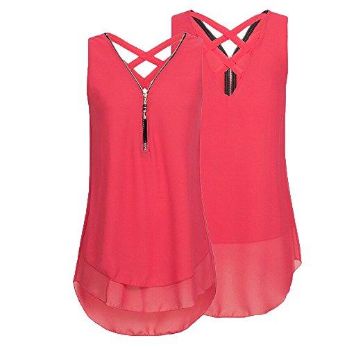 Unregelmäßigkeit Sommer Frauen Reißverschluss Damen Rovinci Vorne Ärmellos aushöhlen Weste Chiffon T Unterhemd Rot Hemdbluse Tank Shirt Bluse Elegant Ausschnitt zurück V Tops pZYnqH6Yw
