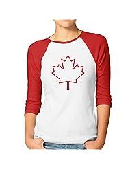 Women's Team Canada Canadian Maple Leaf Logo 3/4 Sleeve Baseball Tee Shirt Black (2 Colors)