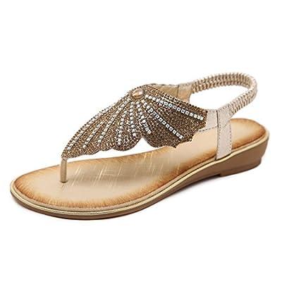 Women's Rhinestone Flat Sandals Glitter Shoes T-Strap Wedding Thong Sandals
