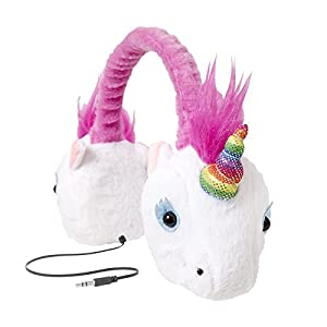 ReTrak Retractable Animalz Tangle-Free, Volume Limiting (85 dB) Over Ear Headphones for Kids, Rainbow Unicorn (ETAUDFUNIC)