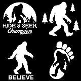 Sasquatch, Bigfoot, Hide and Seek Champion Decals (White)