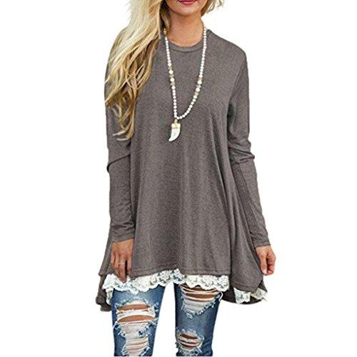 Women Tops, Gillberry Womens CottonLong Sleeve Round Neck Splice Shirt Blouse Tops T Shirt (Gray, - Oil Portsmouth