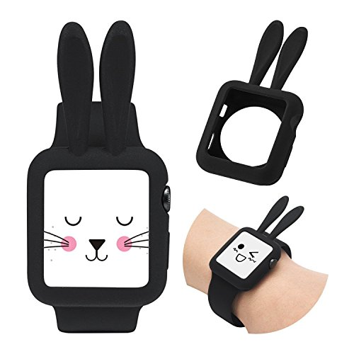 Josi Minea Apple Watch [42mm] Protective Snap-On Shell Bumper Case with Bunny Ears - Premium Anti-Scratch & Shockproof Silicone Guard Shield Cover for Apple Watch Series 3, 2 & 1 - 42mm [ Black ]