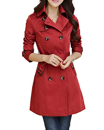 KENANCY Midi Trench Coat Outwear Jacket Elegant Double Breasted Belted Jackets Trenchcoat ()