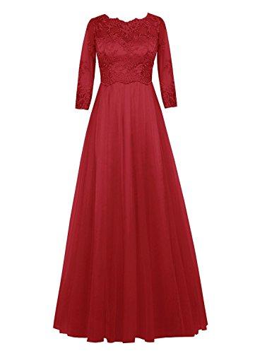 Abendkleider the Fanciest Lang Mother Dark rmeln Damen of Red Bride Spitzen mit FF4Zw1q