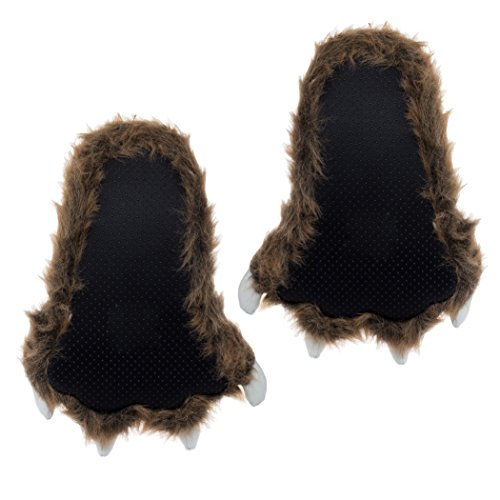 M Claws White Grizzly Brown Slippers w Bear Wishpets Paw f6Fwq8A