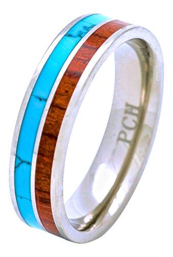 Turquoise Bands Titanium - PCH Jewelers Titanium Hawaiian Koa Wood and Turquoise Inlay Wedding Band Ring 6mm (9)