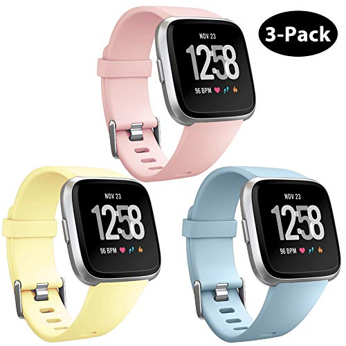 GEAK Replacement for Fitbit Versa Bands & Fitbit Versa Lite Bands 3 Pack,Soft Adjustable Waterproof Wristband Compatible Fitbit Versa Lite SE for Women Men,Small Sandpink/Mint/Yellow