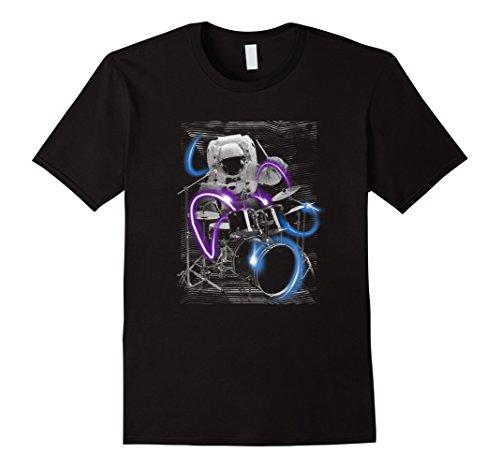 [Men's Rock & Roll T Shirts - Neon Astronaut Playing Drums Tshirt 2XL Black] (70s Era Clothing)