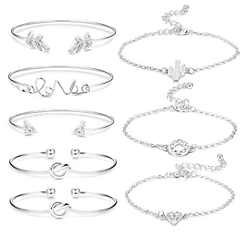 Jstyle 8Pcs Assorted Layered Bridesmaid Bracelets for Women Girls Love Knot Stackable Open Cuff Bangle Multiple Bracelet Set Jewelry Adjustable Silver-Tone