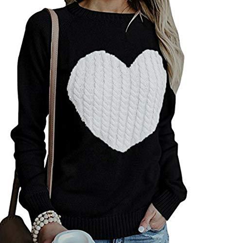 Pull unie Femmes imprim Automne Tricots M Pulls Hauts tricot Couleur Dcontracte Longues Lache d'amour et Manches Toamen Noir Noir hiver a00Ewq8t