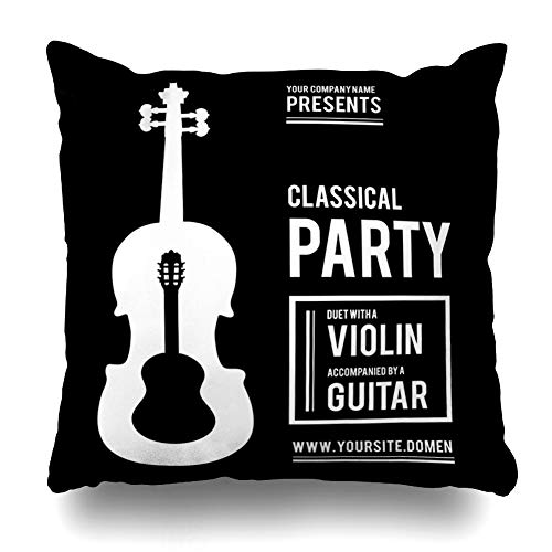 - Ahawoso Throw Pillow Cover Pillowcase Classic Back Classical Music Party Duet Violin Guitar Performance Acoustic Band Concert Couple Design Home Decor Square 18x18 Zipper Cushion Case