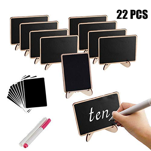 Mini Chalkboard with Support Easel Set - 10 pcs Mini Blackboard with Stand + 2 Liquid Pens + 10 Replacement Black Labels for Wedding Party Table Numbers Place Cards Food Name Card Decorative Sign