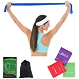 ECGOIOE Flat Exercise Band Set of 3, TPE Wide Resistance Ranges 5-21LBs Bands for Home Gym, Physical Therapy, Sport, Pilates, Stretch, Yoga, Strength Training …