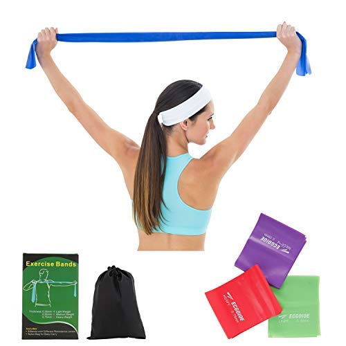 ECGOIOE Flat Exercise Band Set of 3, TPE Wide Resistance Ranges 5-21LBs Bands for Home Gym, Physical Therapy, Sport, Pilates, Stretch, Yoga, Strength Training - Therapy Bands Flat