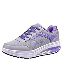 Women Sports Athletic Walking Running Tennis Exercise Fitness Workout Shoes - Purple