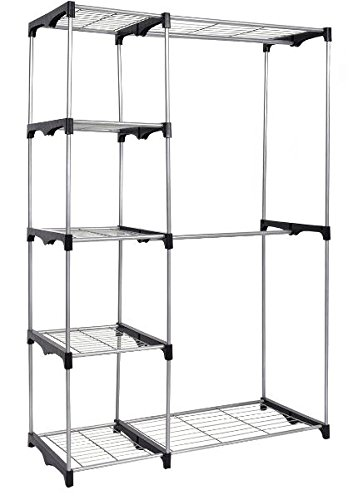 K&A Company Rack Garment Portable Hanger Clothes Closet Organizer Storage Adjustable Wardrobe Rolling Rail Duty Heavy Shelf Home Double by K&A Company