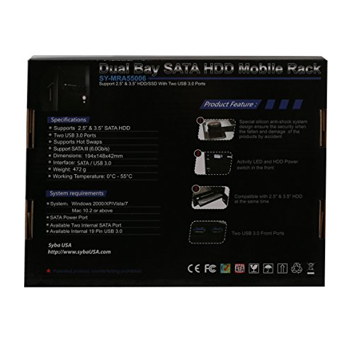 Syba SY-MRA55006 5.25'' Bay Tray Less Mobile Rack for 3.5'' and 2.5'' Sata III HDD with Extra 2 Port USB 3.0, Black/White by Syba (Image #6)