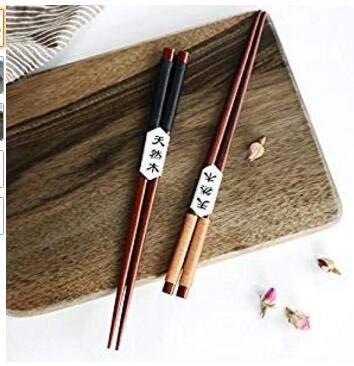Christoopher 2 paia di bacchette a punta con corda in legno naturale giapponese (nero + kaki)