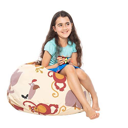 Safari Animal Bean Bags - BEDEW Kids Stuffed Animal Storage Bean Bag Chair with Free Pyramid Cube Toy   Extra Large Pouf Ottoman for Toys  Toy Storage Zipper Bags   Safari Animals Pattern( Beige Colour )