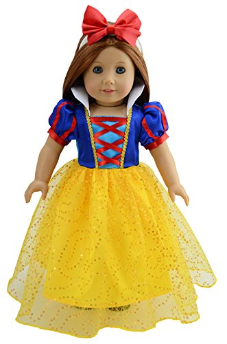 dreamtoyhouse Snow White Costume with Headband for 18 Inches Doll