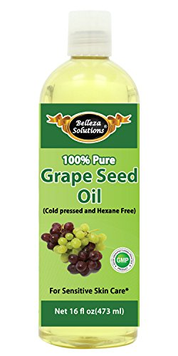 Belleza Solutions Grapeseed Oil 16 OZ - 100% Pure Cold pressed and Hexane free - No Synthetic Preservatives, Colors or Fragrances - 100% Pure Sensitive Skin Care ()
