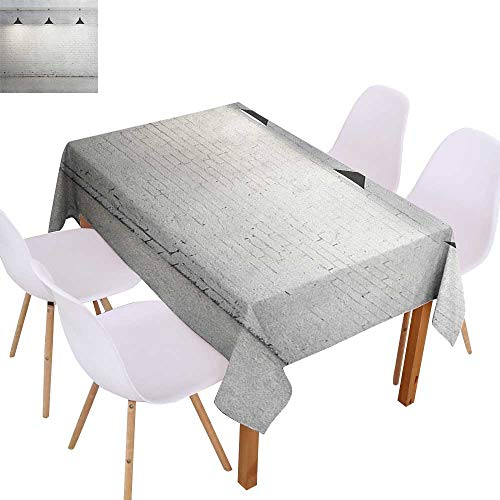 Cash Hoover Polyester Tablecloths Custom Abstract,Brickwork Concrete Room with Three Ceiling Lamps Modern Minimalistic Design,Black and White,for Rectangle Tables 60