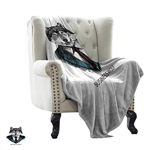 Trim Jacket Animal (LsWOW Baby Blanket Wolf,Business Animal in Suit with Jacket Shirt and Tie Sketch Style Hipster Print,Teal Vermilion Black Super Soft Faux Fur Plush Decorative Blanket 35