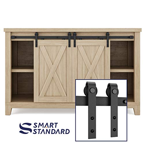SMARTSTANDARD 4ft Double Cabinet Barn Door Hardware Kit - Super Mini Sliding Door Hardware -for Cabinet TV Stand Console - Simple & Easy to Install -Fit 16 Wide Door Panel (NO Cabinet) (J Shape)