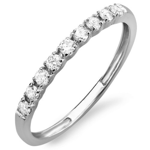 0.25 Carat (ctw) 10k White Gold Round Diamond Ladies Anniversary Wedding Band Enhancer Guard 1/4 CT (Size 7)