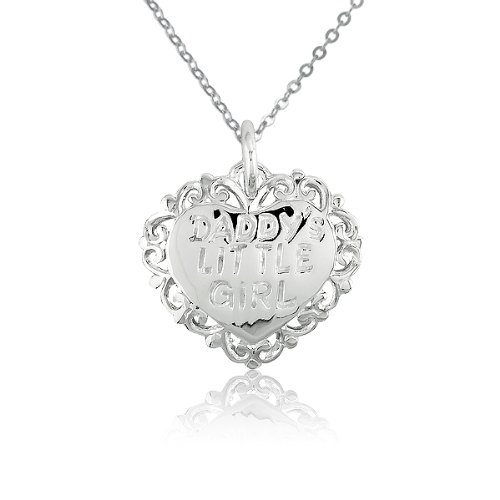 Charm Belle Heart (Sterling Silver 'Daddy's Little Girl' Heart Charm with 16