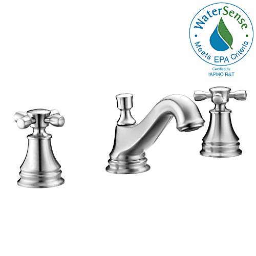 ANZZI Melody 8 in Twin Dual Handle Three Hole Bathroom Sink Faucet in Brushed Nickel | Vessel Basin Sinks Widespread Waterfall Deck Mounted cUPC Lavatory Faucet | Valve included | L-AZ007BN