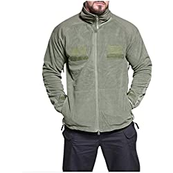 Men Tactical Jacket Windproof Autumn Winter Thick Warm Velvet Blouse Coat with Pocket (M, Army Green)